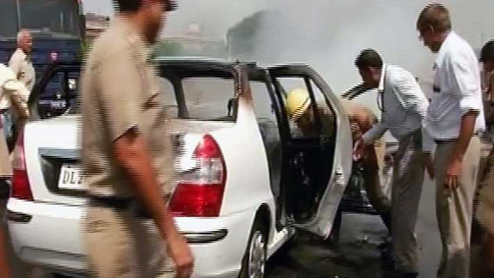 Chaos near Parliament as home ministry car catches fire, nobody injured