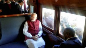 Prime Minister Narendra Modi travels from Pentrich Railway Station to Pietermaritzburg, South Africa on Saturday. The train resembles the one on which Mahatma Gandhi ji travelled.