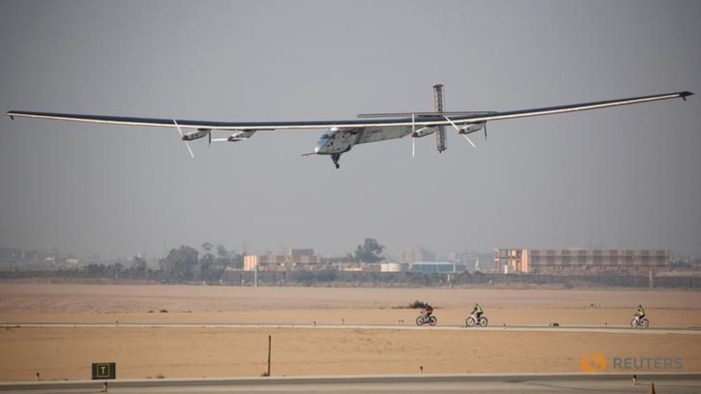 Solar plane in Egypt in penultimate stop world tour