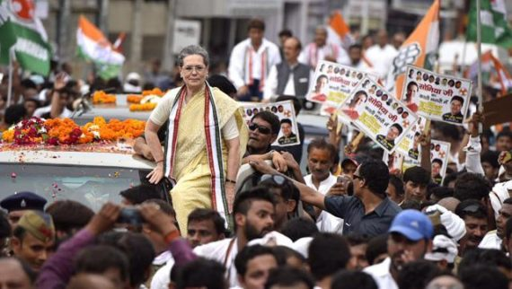 Sonia leads impressive roadshow in Varanasi, cuts short march after falling ill