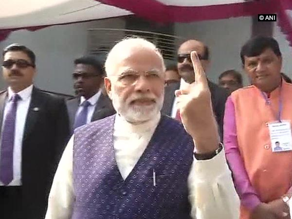 Gujarat polls: PM Modi casts his vote in Sabarmati