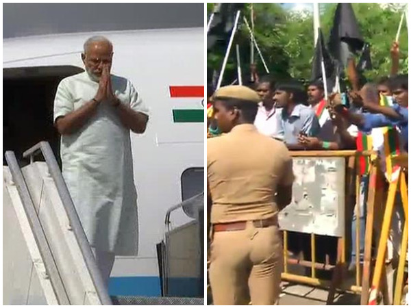PM Modi arrives in Chennai amid black flag protests