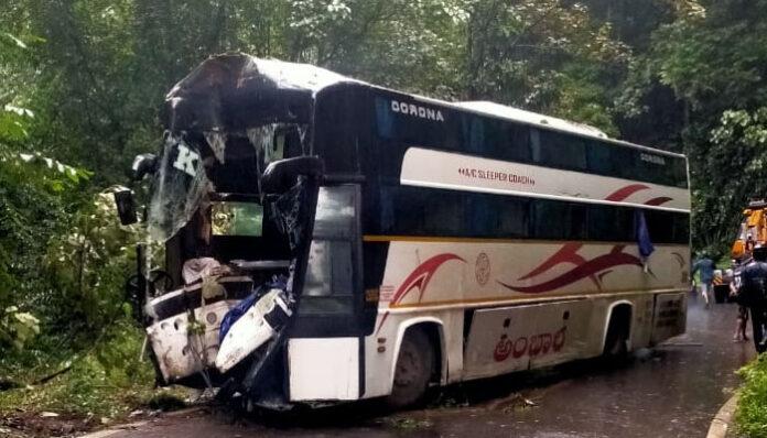 One killed, 15 injured in RTC bus accident at Kerala-Karnataka border